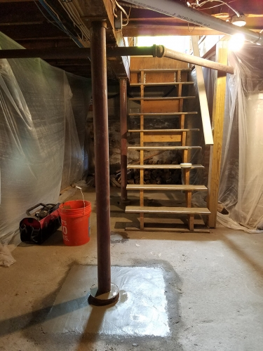 Lally Column Replacement Newton MA - Premier Basement Waterproofing - 20160525_163219