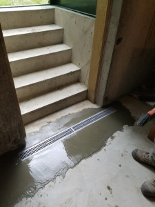 Trench Drain After Concrete Still Wet