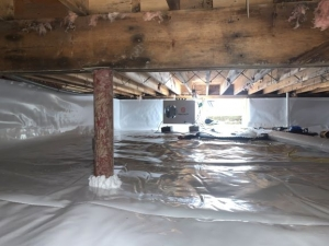 Completed encapsulation in crawlspace for moisture control