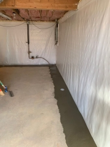 Drainage and Vapor Barrier Full Perimeter System Completion.