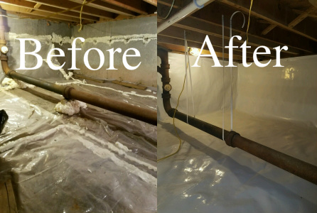 Crawle Encapsulation Lunenburg Machusetts Premier Bat Waterproofing Beforeafter2